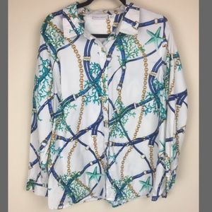 Susan Graver Ocean Life Button Up Blouse 14